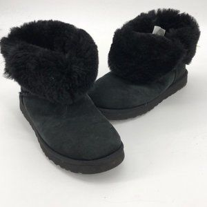 UGGS Black Fold Over Short Bootie Size 7